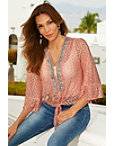 Embellished Lace Tie Front Top Photo