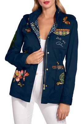 Embroidered drawstring utility jacket