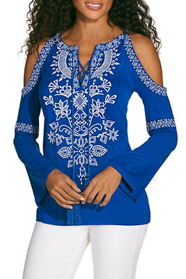 Display product reviews for Embroidered lace up cold shoulder top