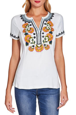Embroidered notch neck tee