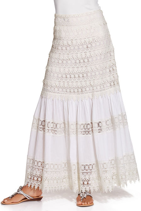 Tiered lace maxi skirt image