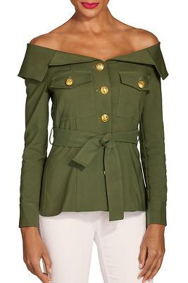 Off the shoulder utility jacket