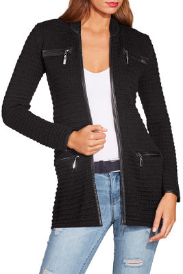 Display product reviews for Piped textured sweater jacket