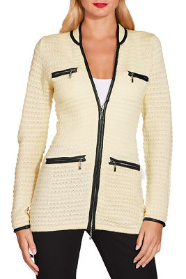 Piped textured sweater jacket