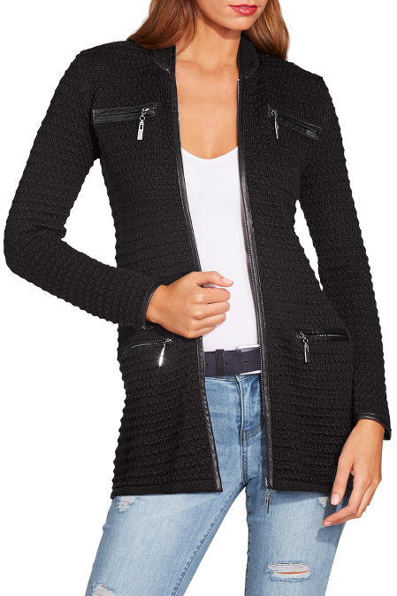 Piped textured sweater jacket image