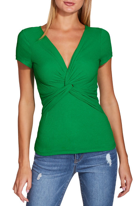 Ribbed knot surplice top image