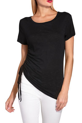 Display product reviews for Ruched tie slub tee