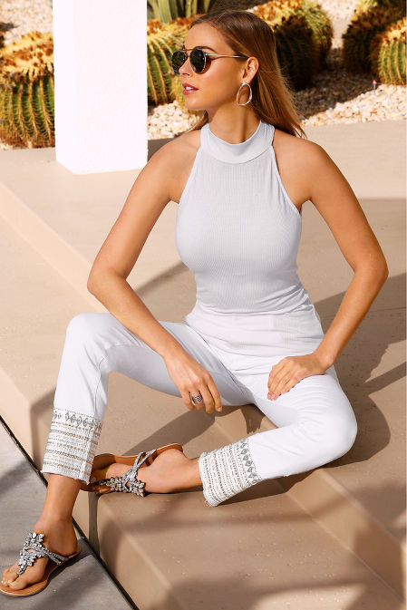 Silver embellished ankle jean image
