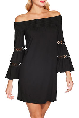 Display product reviews for Smocked off the shoulder flare sleeve dress