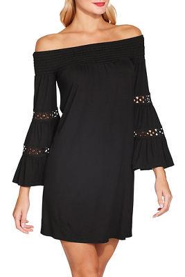 smocked off the shoulder flare sleeve dress