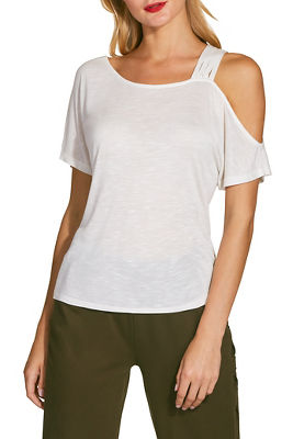 Strappy shoulder slub tee