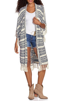 Stripe fringe detail cardigan