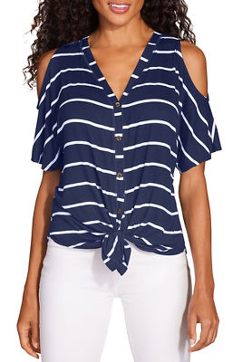 Display product reviews for Striped cold shoulder button up top