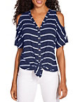 Striped Cold Shoulder Button Up Top Photo