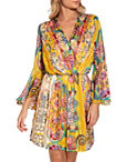Surplice Paisley Blouson Dress Photo