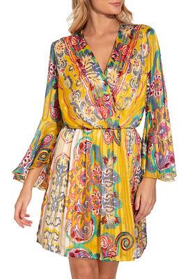 Surplice paisley blouson dress