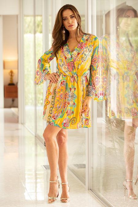 Surplice paisley blouson dress image