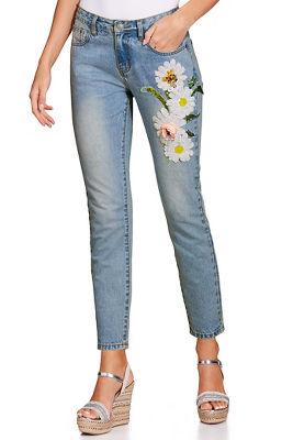3D daisy crop jean