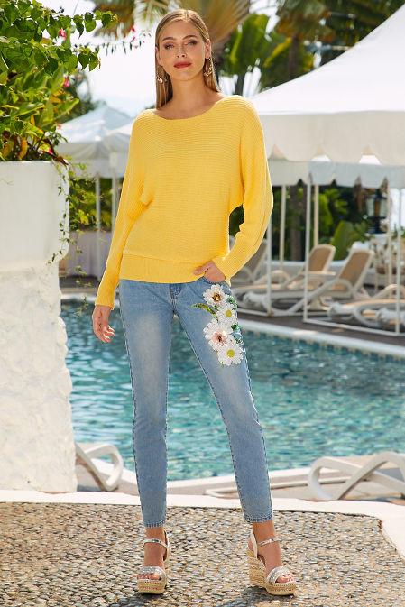 3D daisy crop jean image