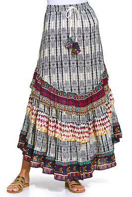 Border tie dye maxi skirt