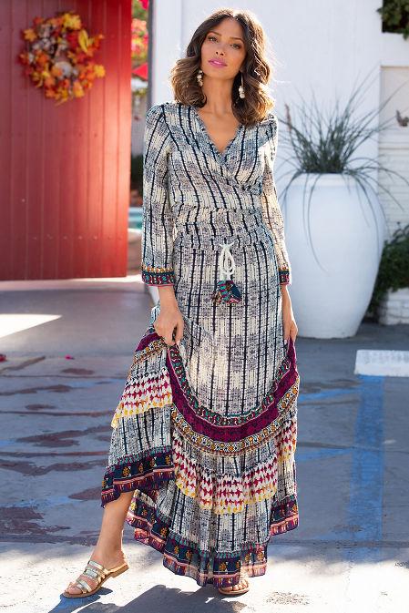 Border tie dye maxi skirt image