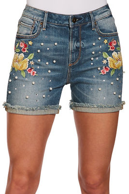 lotus embroidered short