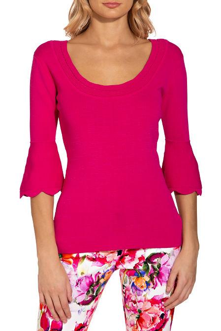 Pointelle flare sleeve sweater image
