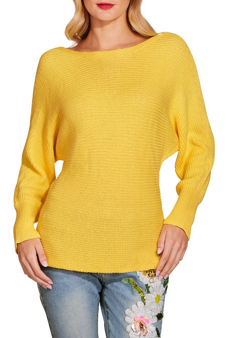 Slouchy boat neck long sleeve sweater image