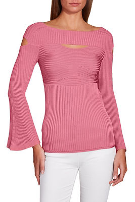 Ribbed cutout wide neck sweater