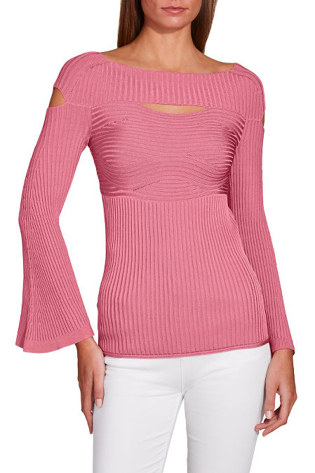 Ribbed cutout wide neck sweater image