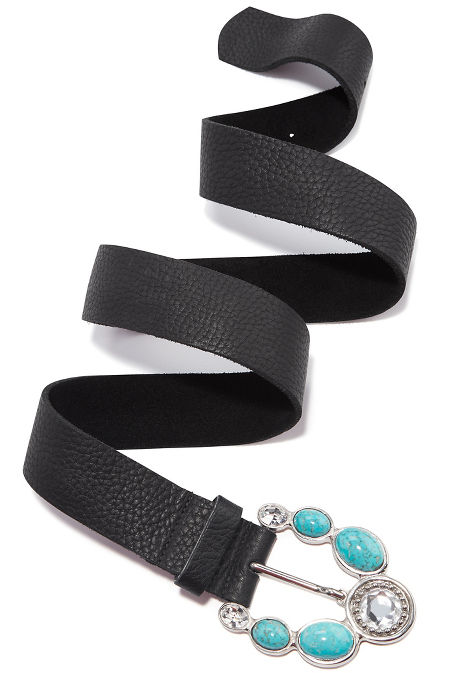Black and turquoise buckle belt image