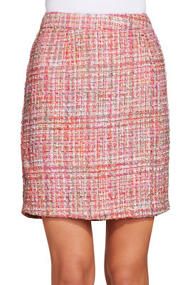Tweed back zip skirt