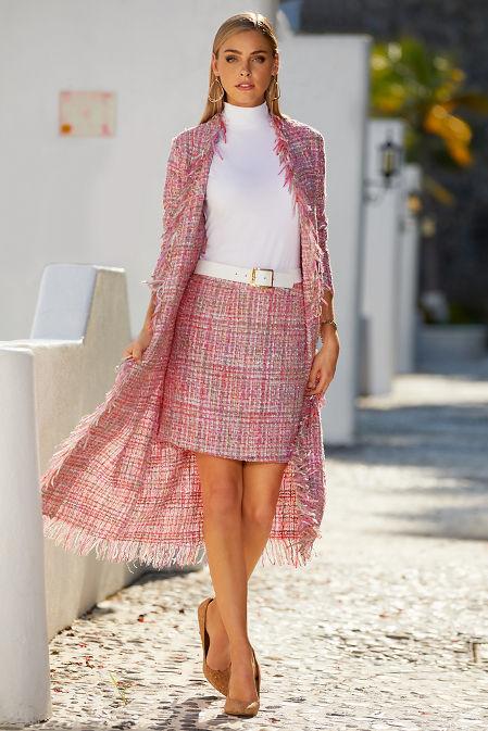 Tweed back zip skirt image