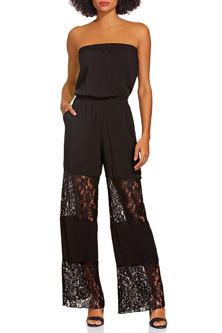 Crochet inset jumpsuit cover up image