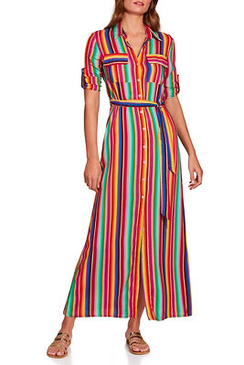 Rainbow stripe shirtdress