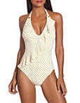 Striped Ruffle One Piece Swimsuit Photo