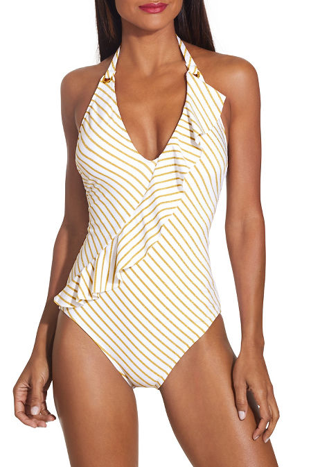Striped ruffle one piece swimsuit image