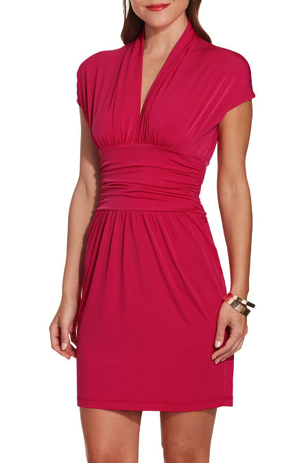 Cap sleeve deep v dress image