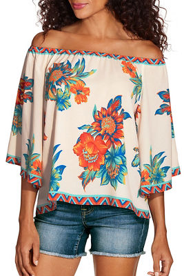 bright floral off the shoulder top