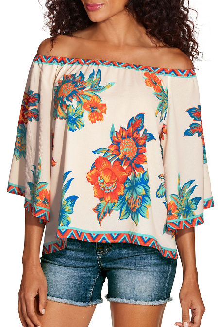 Bright floral off the shoulder top image
