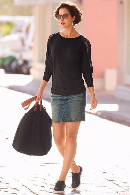 Studded denim mini skirt image