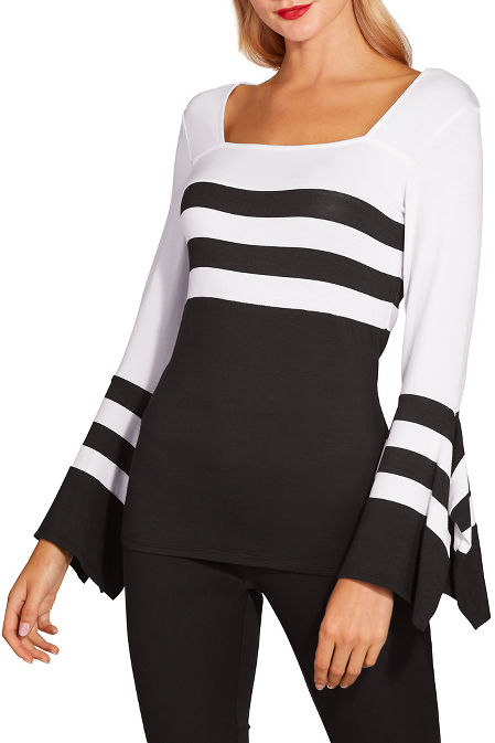 Striped flare sleeve top image