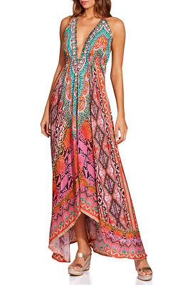 Embellished python border maxi dress