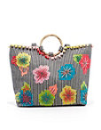 Fanciful Floral Stripe Tote Photo