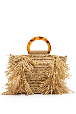 Straw top handle crossbody bag