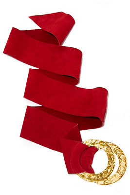 Suede wrap buckle belt