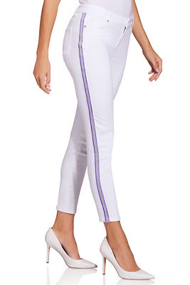 Display product reviews for Lavender racer stripe ankle jean