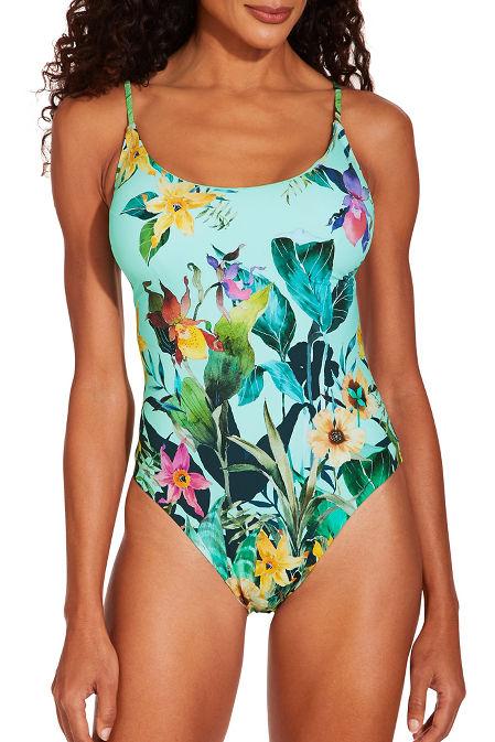 Botanical one piece swimsuit image