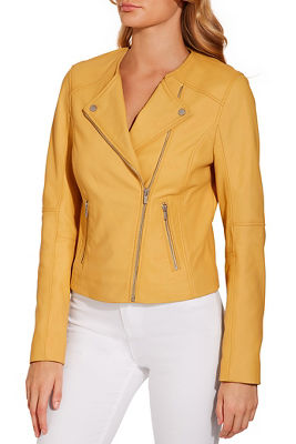 Leather collarless moto jacket