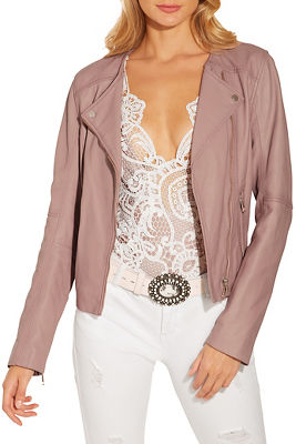 Leather collarless moto jacket
